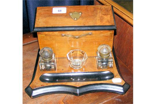 Antique Desk Tidy With Cut Glass Inkwells - Antique Desk Tidy Antique  Furniture - Antique Desk - Antique Desk Tidy Antique Furniture