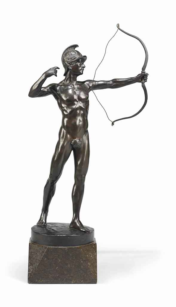 Lot 384 - A GERMAN BRONZE MODEL OF AN ARCHER EARLY 20TH CENTURY On an integral base with cast signature '