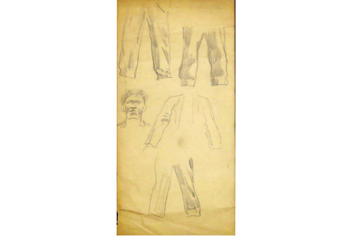VAN DEN BERGHE FRITS (1883 - 1939) studietekening voor een man, een ontwerp voor een [...] - Bild 2 aus 3