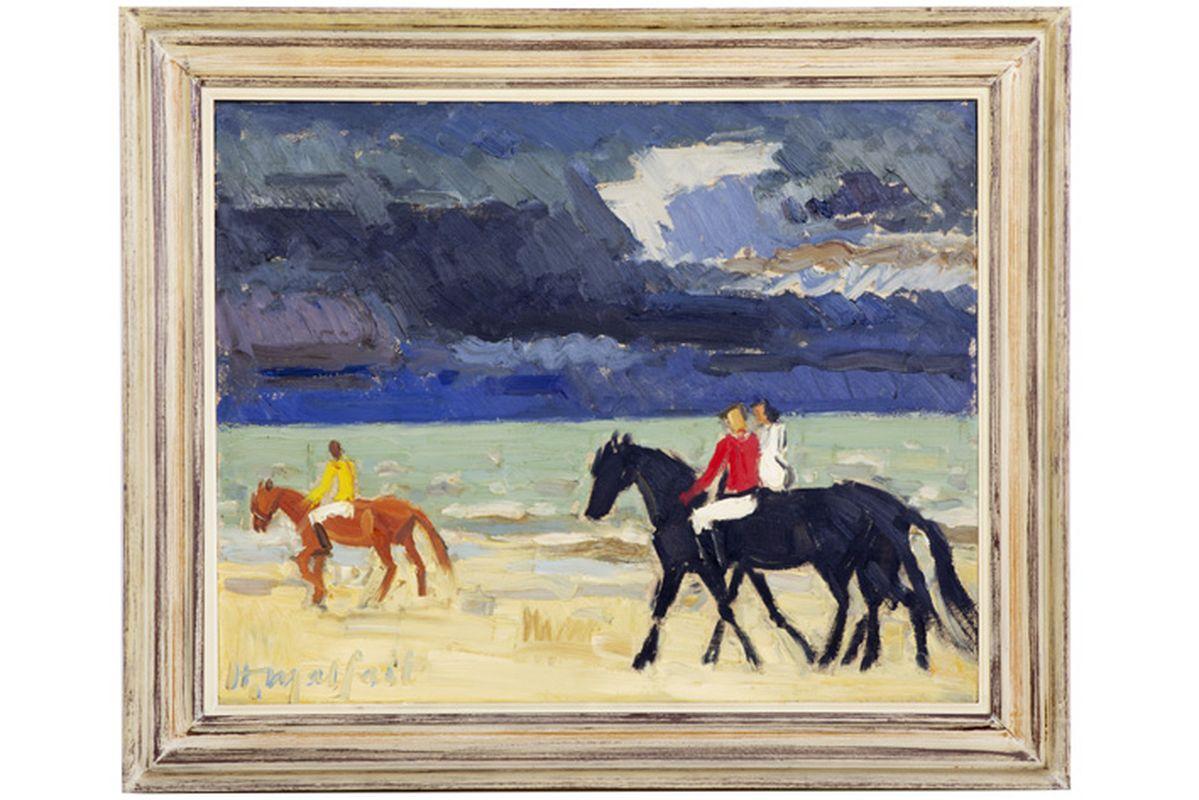 """MALFAIT HUBERT (1898 - 1971) olieverfschilderij op paneel : """"Ruiters op het strand"""" [...]"""