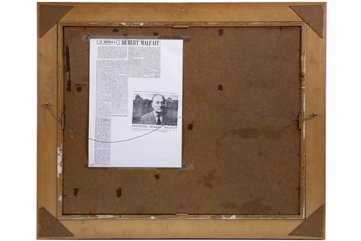 """MALFAIT HUBERT (1898 - 1971) olieverfschilderij op paneel : """"Ruiters op het strand"""" [...] - Bild 4 aus 4"""