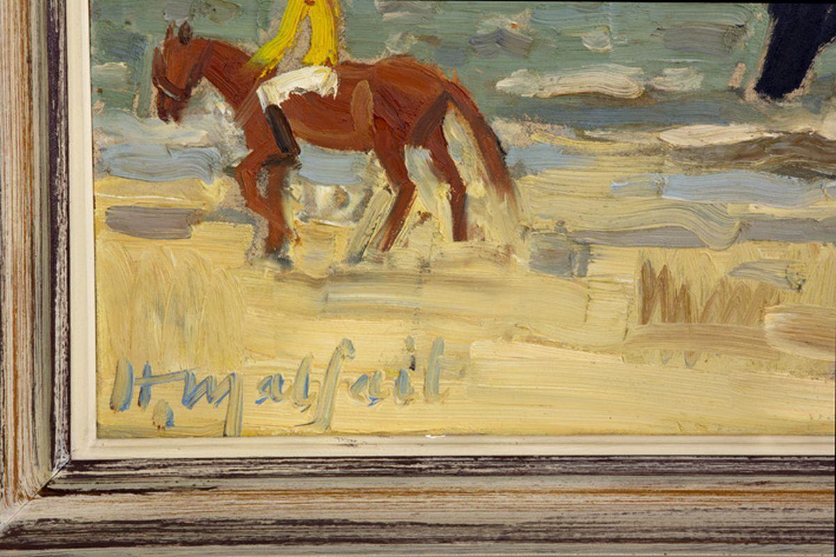 """MALFAIT HUBERT (1898 - 1971) olieverfschilderij op paneel : """"Ruiters op het strand"""" [...] - Bild 3 aus 4"""