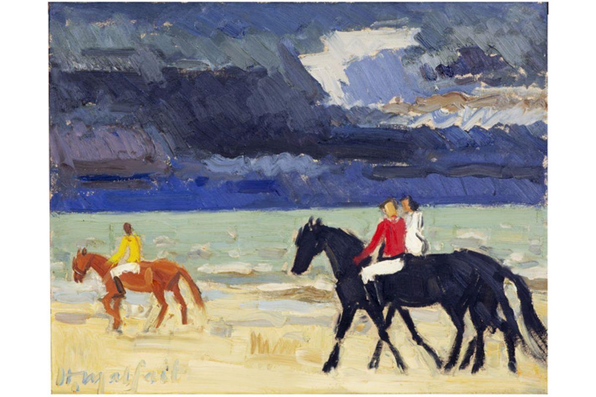 """MALFAIT HUBERT (1898 - 1971) olieverfschilderij op paneel : """"Ruiters op het strand"""" [...] - Bild 2 aus 4"""