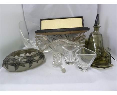 A Steuben mid century colourless glass bowl; a pair of Val St lambert colourless glass vases; an Czechoslovakian liqueur set;