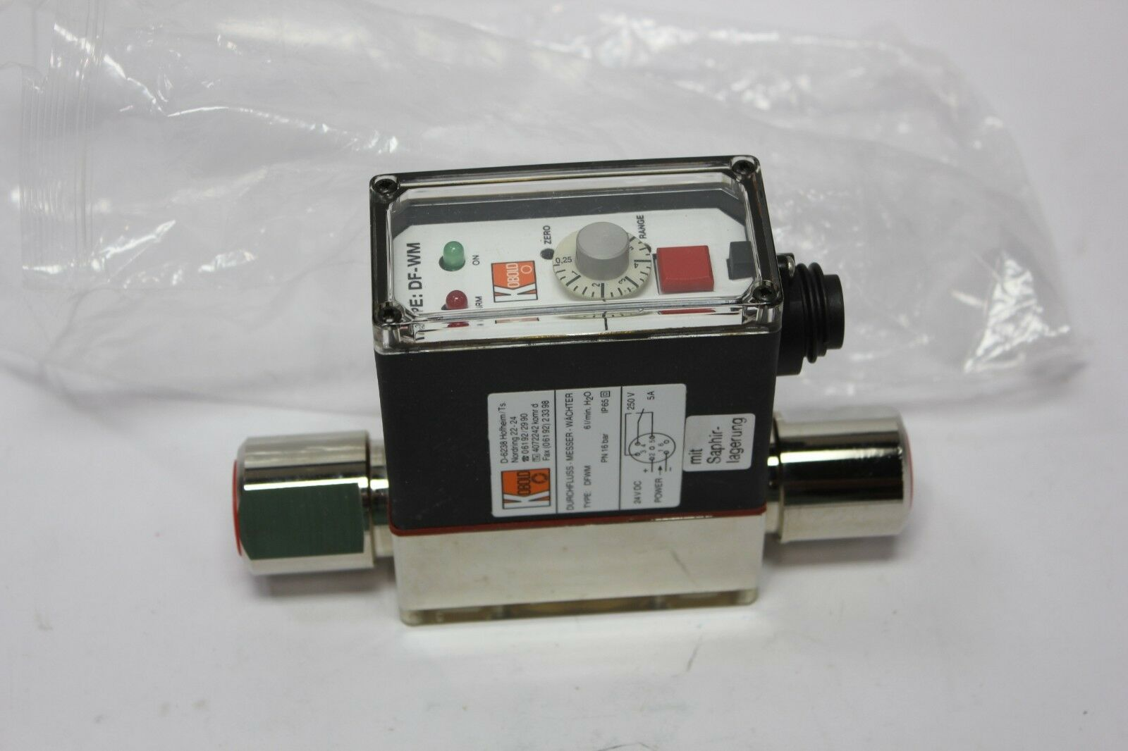 Lot 8A - New Kobold Stainless Steel DF-WM Paddle Wheel Flow Switch