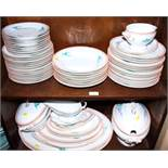 "A J L Cassidy & Co ""Montreal"" pattern part dinner service, eight Helmsdale pottery soup bowls and"