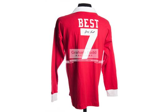 best service 08bfa 54d51 George Best signed Manchester United No.7 home retro jersey ...