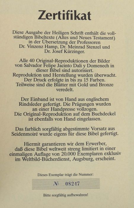 Dali-Bibel Die Bibel mit Bildern von Salvador Dali 1904-1989, Pattloch/Weltbild-Bücherdienst, 1989, - Bild 3 aus 6