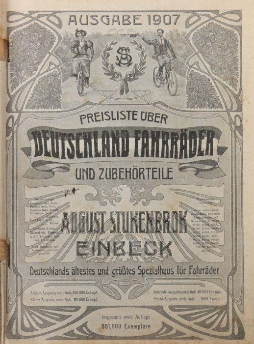 Warenkatalog August Stukenbrok, Einbeck 1907, Katalog mit zahlr. Abb., u.a. Fahrräder, - Bild 2 aus 3