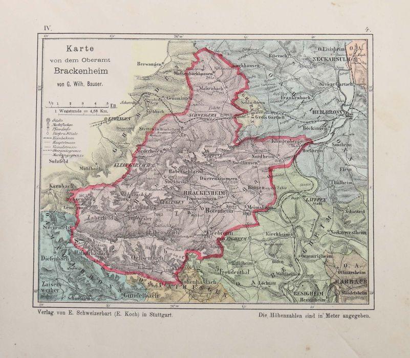 Bauser, G. Wilhelm (bearb.) Hand-Atlas des Königreichs Württemberg in 63 Blättern, Stuttgart, - Bild 4 aus 7
