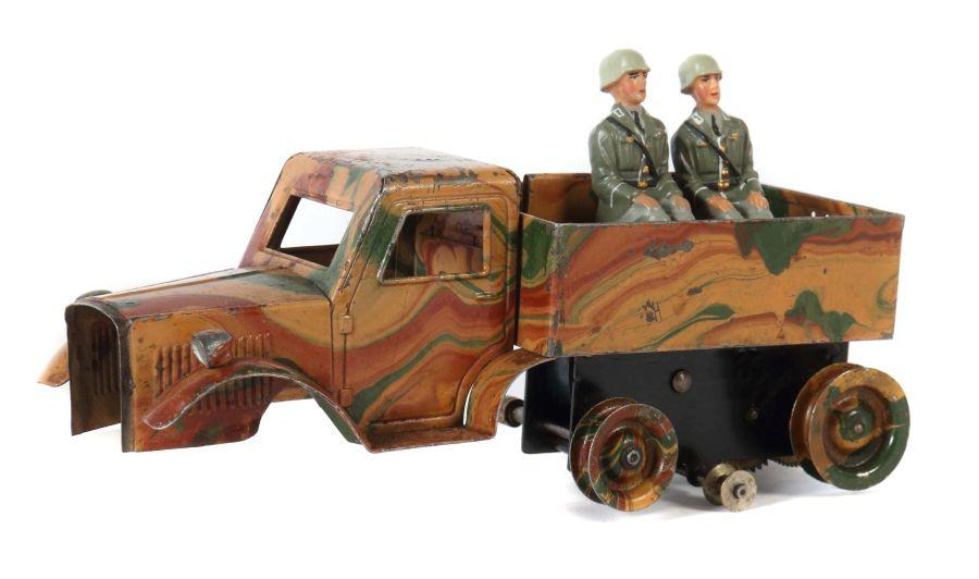 Halbkettenfahrzeug Märklin, 8191, um 1934-37, Blech, mimikry, Uhrwerkantrieb intakt, 2 sitzende