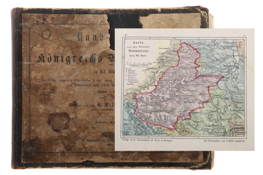 Bauser, G. Wilhelm (bearb.) Hand-Atlas des Königreichs Württemberg in 63 Blättern, Stuttgart,