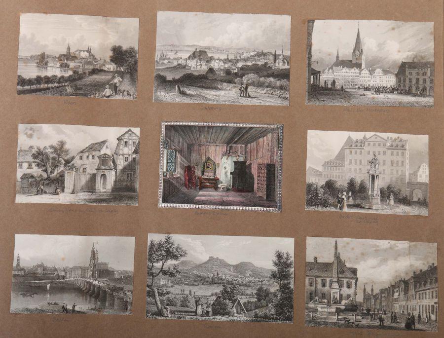 Album Mit ca. 180 eingeklebten Personen-, Stadt- und Landschaftsdarstellungen, verschiedene - Bild 3 aus 10