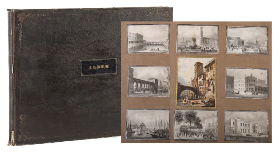 Album Mit ca. 180 eingeklebten Personen-, Stadt- und Landschaftsdarstellungen, verschiedene