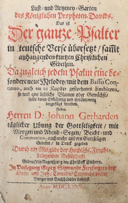 Hohberg, Wolf Helmhardt von Lust- und Artzeney-Garten des Königlichen Propheten Davids. Das ist Der - Bild 3 aus 5