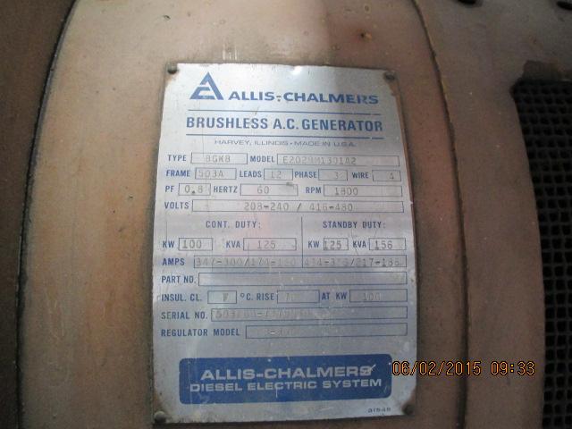 Allis-Chalmers 100kw gen set, 6-cyl, a/c, dsl, no radiator - Image 3 of 3