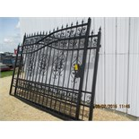 2-section, 18' wide, black decorative iron gates