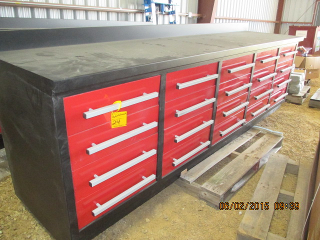 9' steel work bench w/drawers