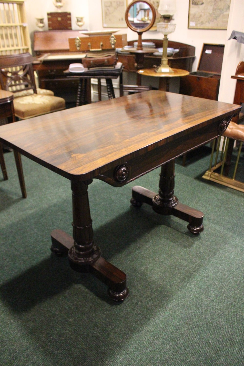 A GOOD QUALITY ROSEWOOD WILLIAM IV LIBRARY TABLE, neat size, with 2 frieze drawers, having carved - Image 2 of 3