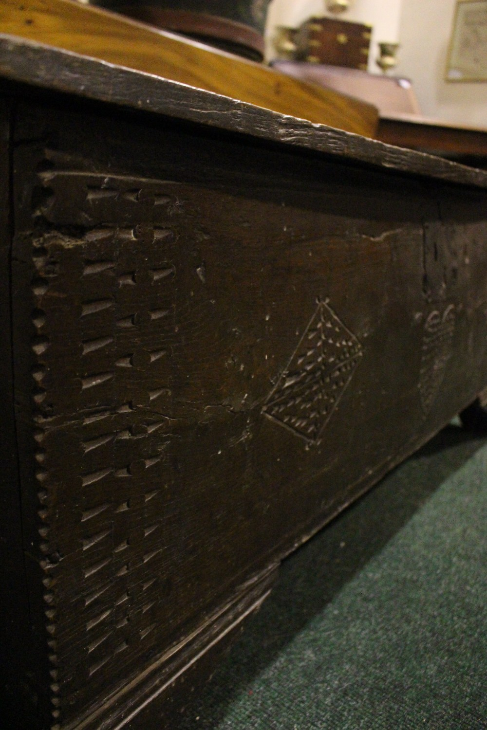 AN OAK COFFER CHEST / MARRIAGE CHEST, with carved initials to the front and a love heart motif to - Image 7 of 7