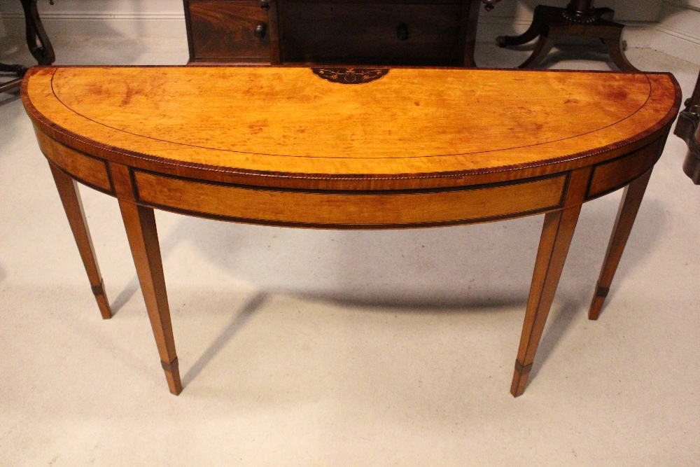 Lot 4 - A VERY FINE IRISH 19TH CENTURY 'ELLIPTICAL' SIDE TABLE, with marquetry inlaid detail to the
