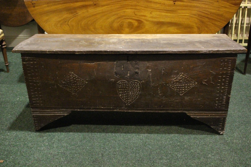 AN OAK COFFER CHEST / MARRIAGE CHEST, with carved initials to the front and a love heart motif to - Image 2 of 7