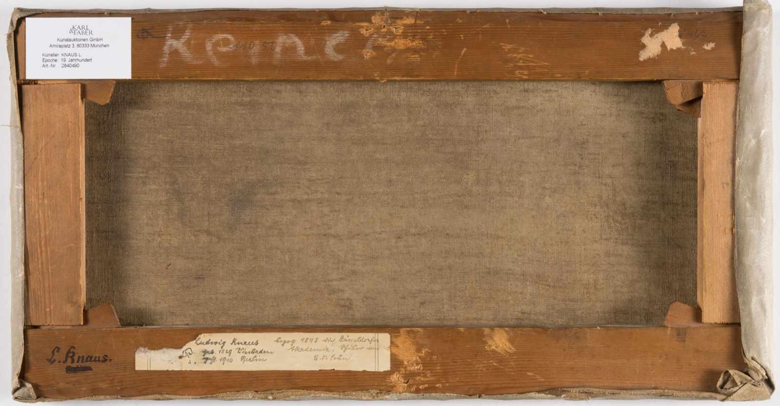 Lot 59 - Ludwig Knaus1829 Wiesbaden - Berlin 1910Spielende PuttenÖl auf Leinwand. 1855. 22,8 x 46,8 cm.