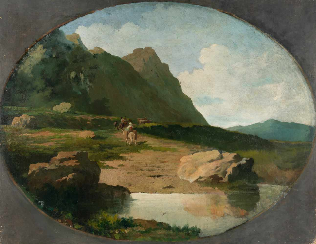 Lot 33 - Anselm Feuerbach1829 Speyer - Venedig 1880Italienische LandschaftÖl auf Leinwand, doubliert. 66,3