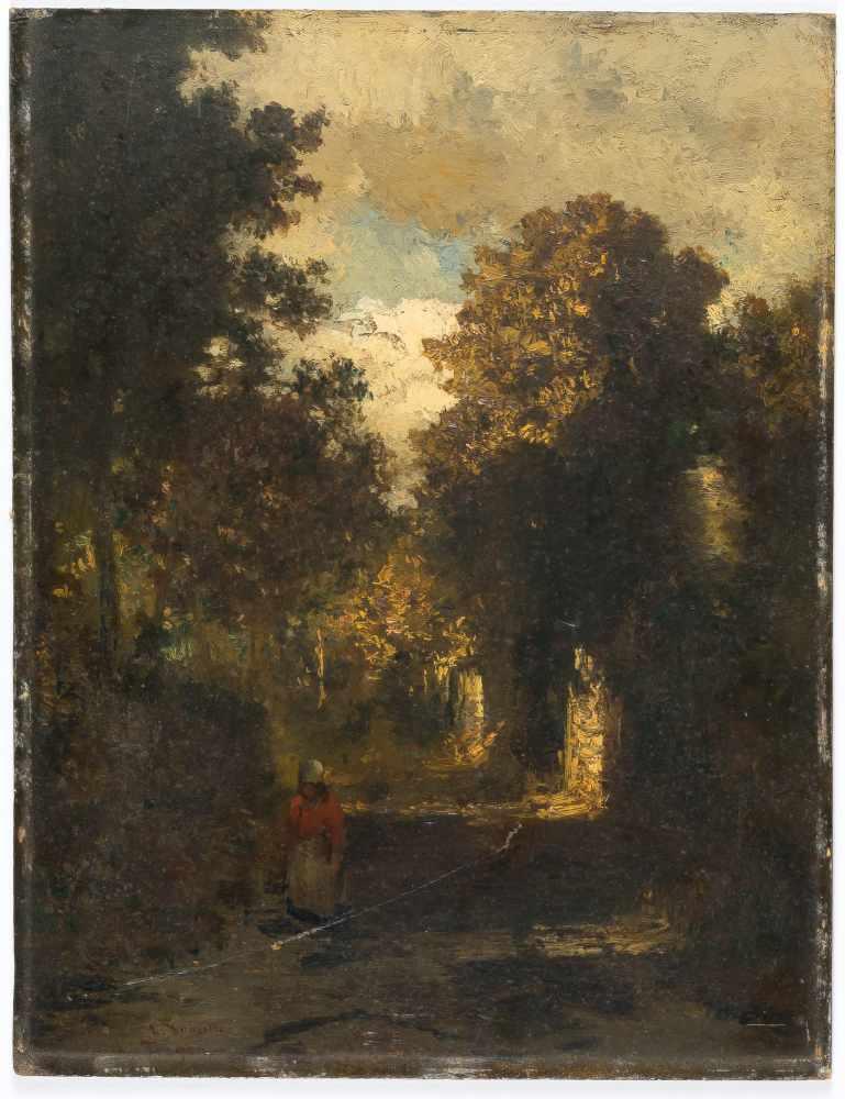 Lot 48 - Louis Douzette1834 Tribsees – Barth 1924Der WaldspaziergangÖl auf Malkarton. 38 x 29 cm. Signiert