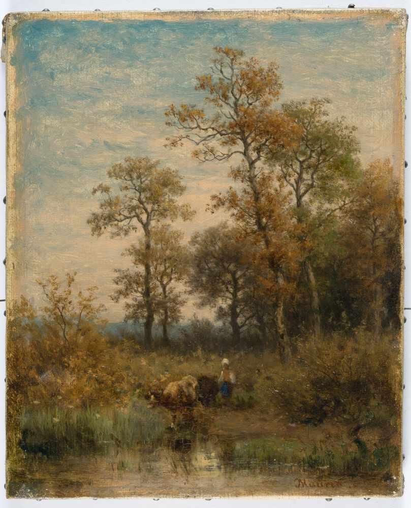Lot 43 - Jakob Maurer1826 Obereschbach –Kronberg im Taunus 1887Bachlandschaft mit HirtinÖL auf Leinwand.