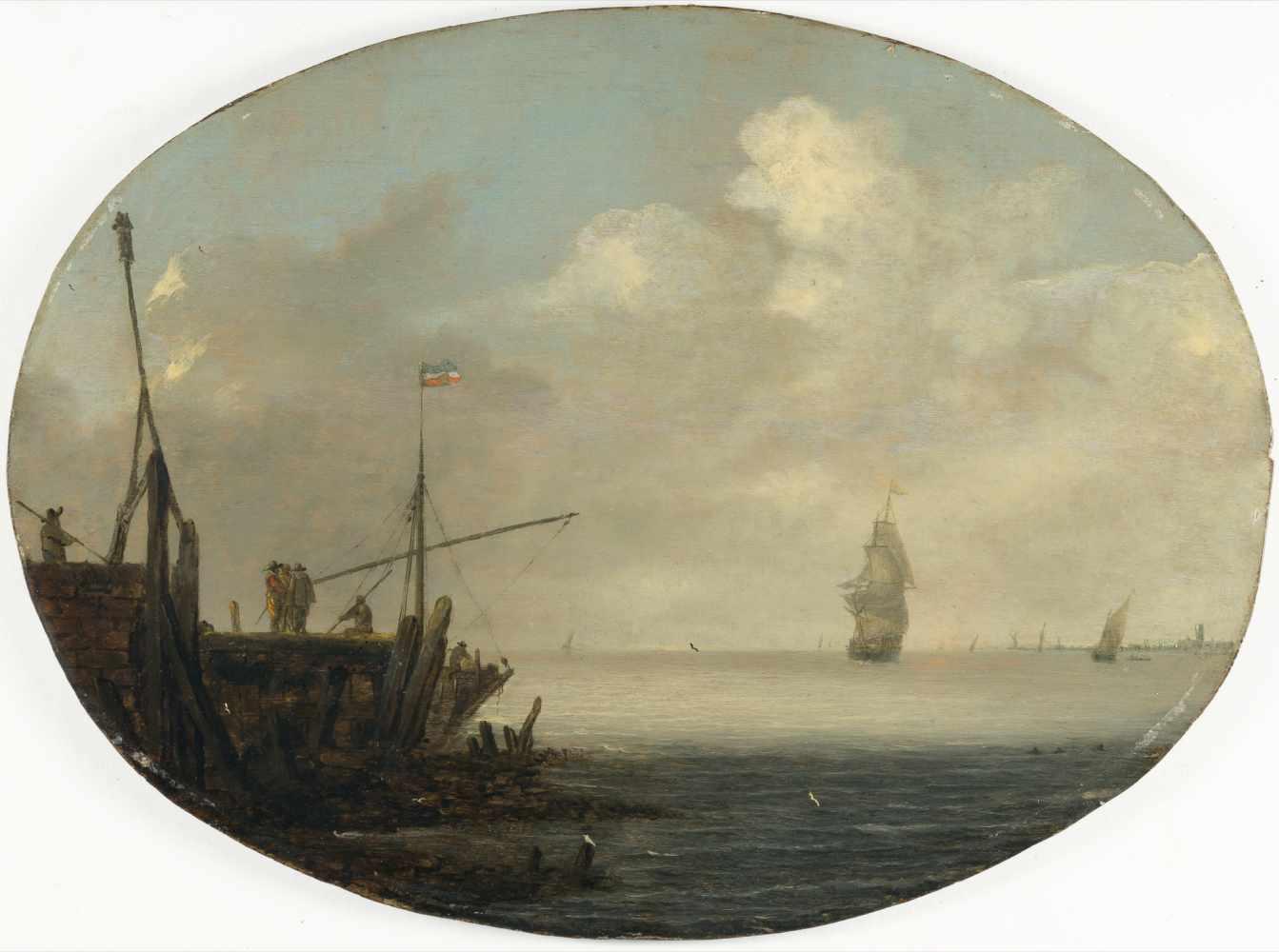 Lot 13 - NiederländischSchiffe auf ruhiger See, links eine Landungsstelle aus PfahlwerkÖl auf Holz. (Um