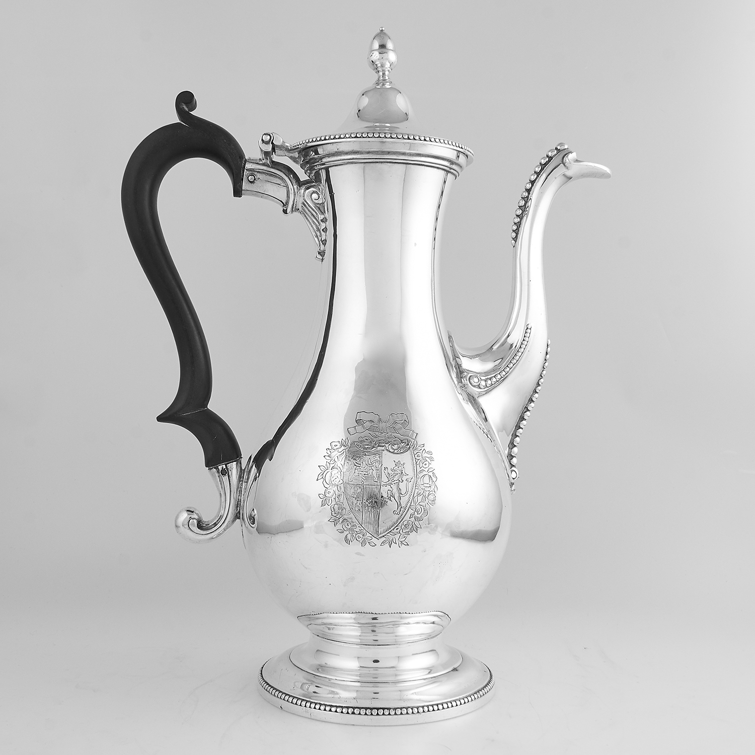 ANTIQUE GEORGE III STERLING SILVER COFFEE POT, HESTER BATEMAN 1778 the baluster body on a