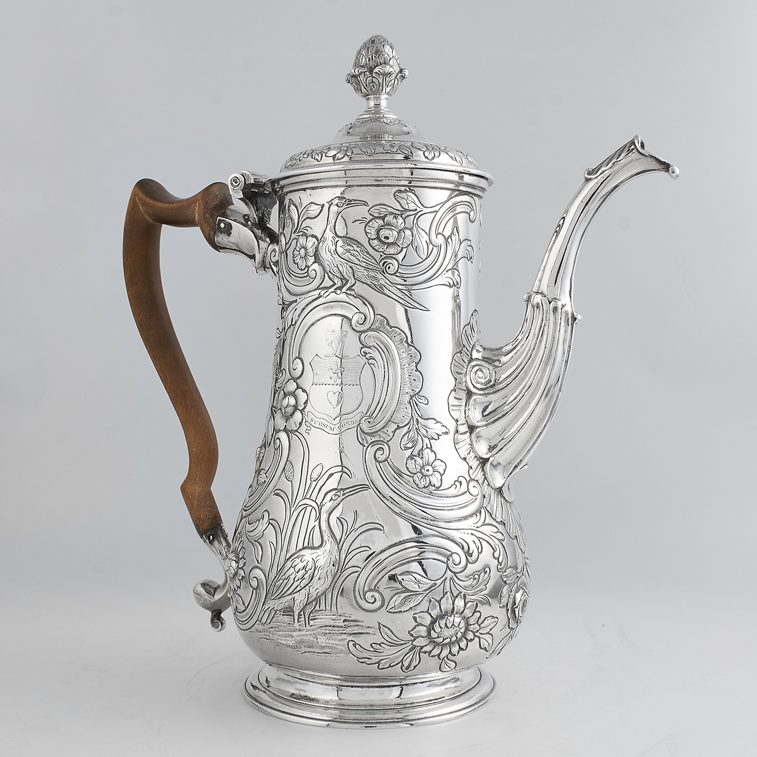 ANTIQUE GEORGE II IRISH STERLING SILVER COFFEE POT, DAVID BOWES CIRCA 1750 the baluster body on a