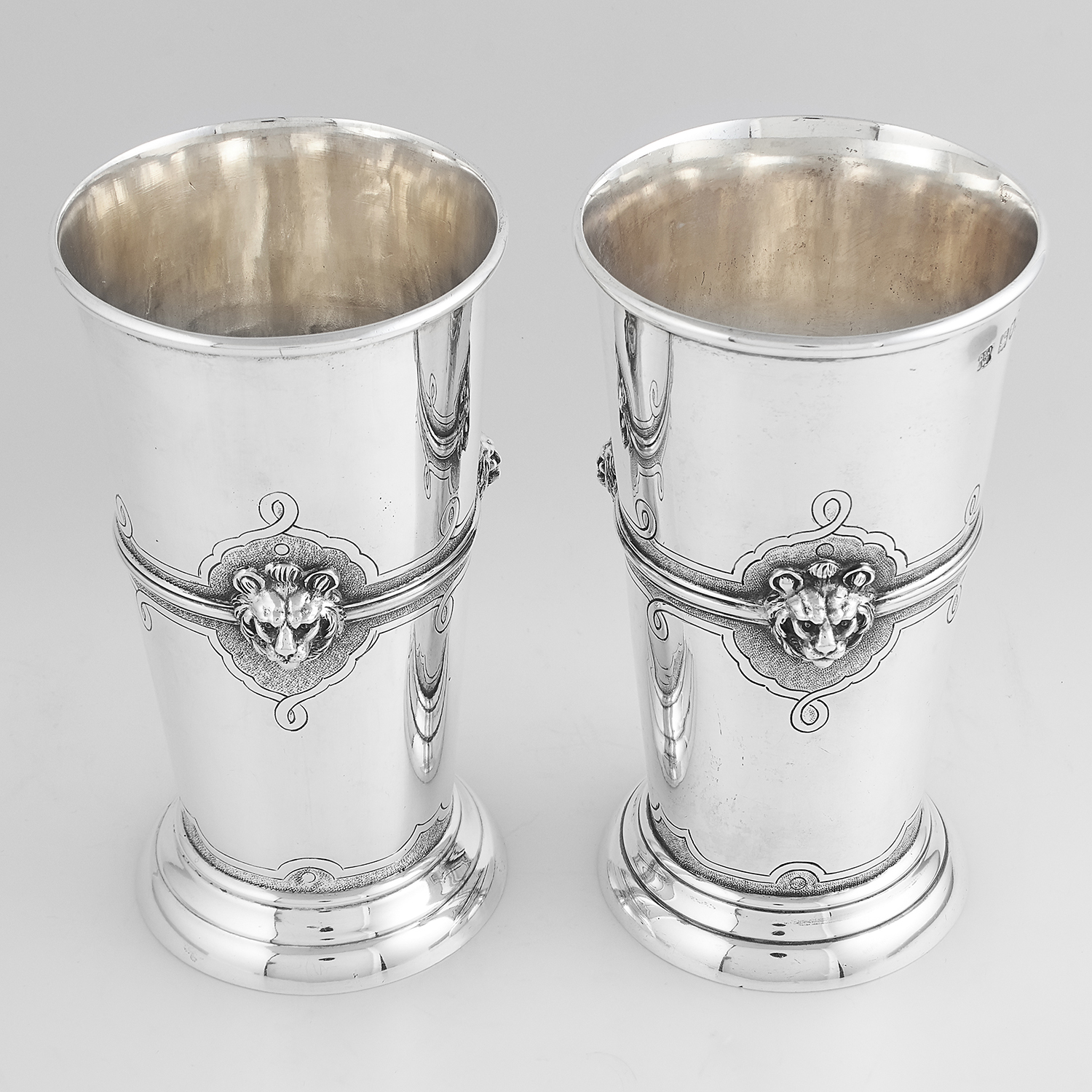 FOUR ANTIQUE STERLING SILVER BEAKERS / CUPS, D & J WELLBY, LONDON 1910 the tapering bodies with - Image 2 of 3