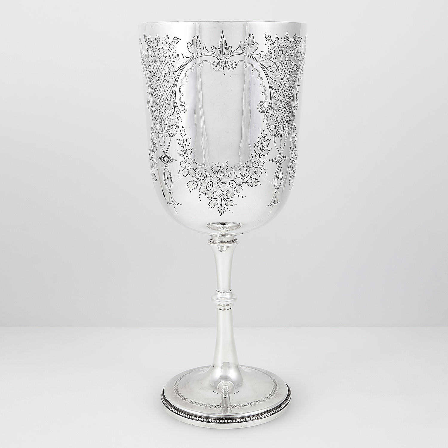 ANTIQUE VICTORIAN STERLING SILVER GOBLET, JACKSON FULLERTON, LONDON 1900 the rounded body with