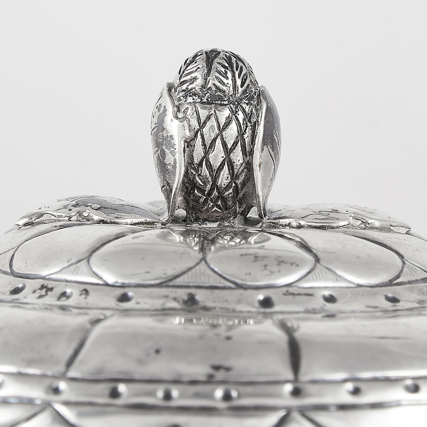 ANTIQUE MEXICAN SILVER POT AND COVER, 19TH CENTURY circular baluster form with chased decoration, - Image 2 of 2