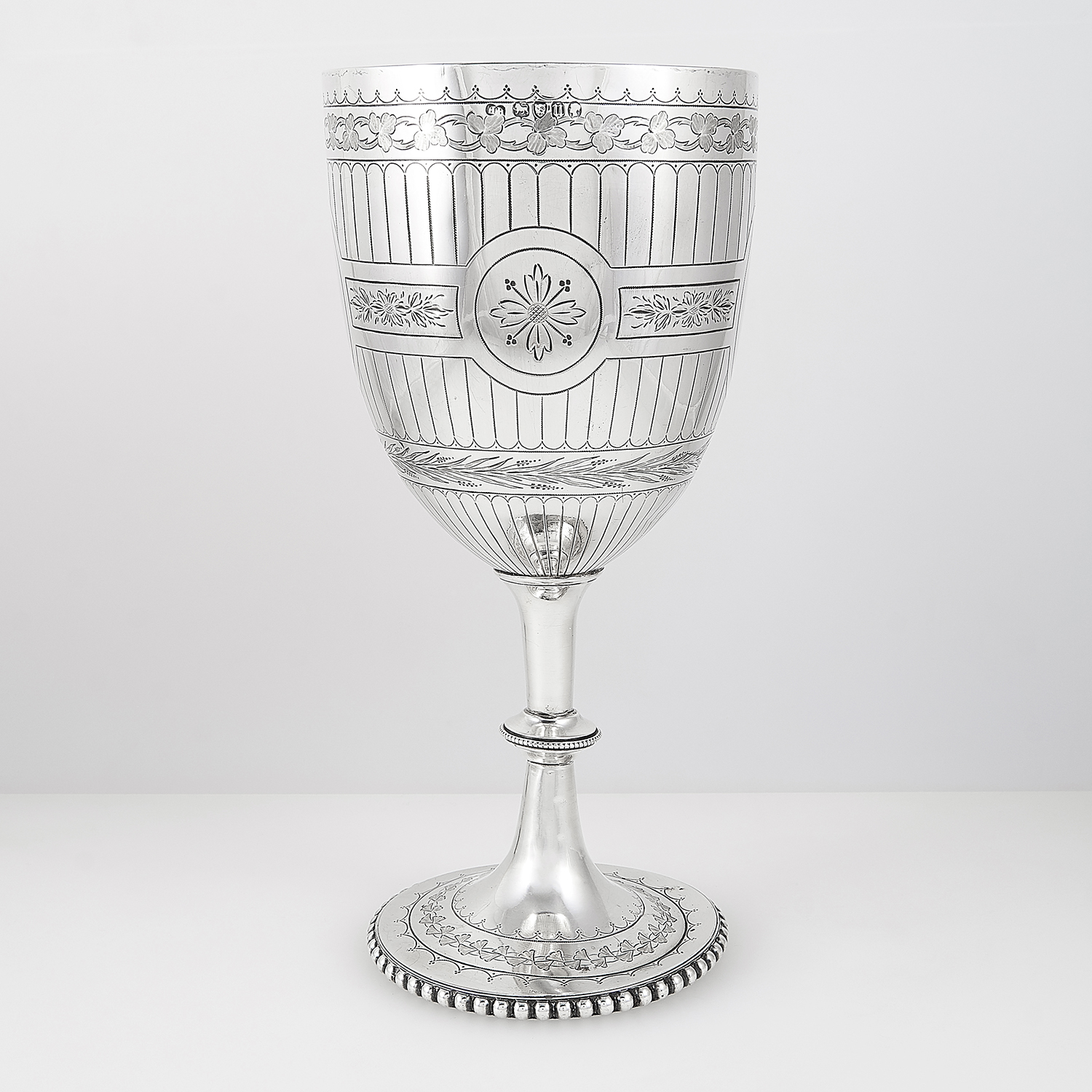 ANTIQUE VICTORIAN STERLING SILVER GOBLET, HENRY HOLLAND, LONDON 1875 the rounded body with