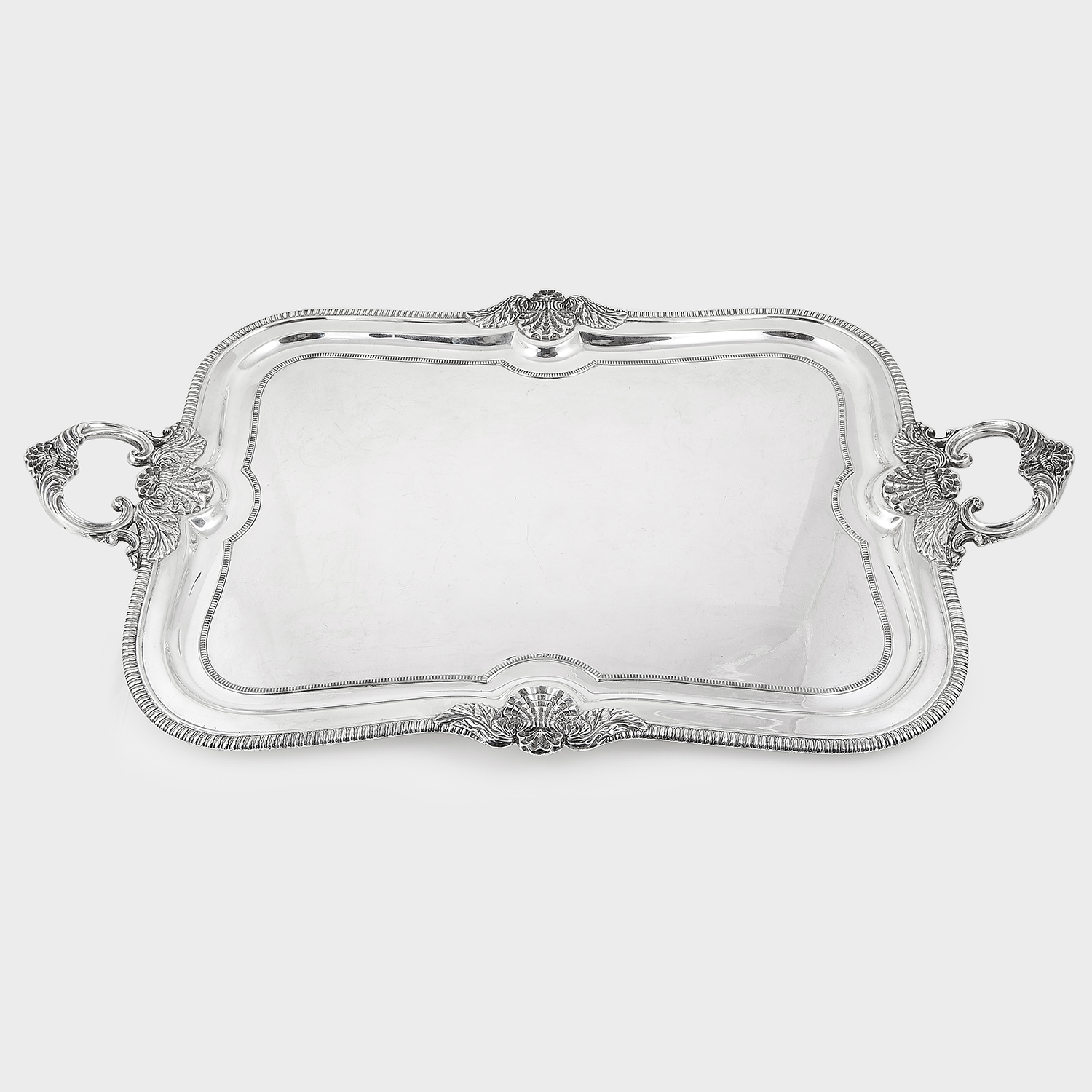 Los 1 - ANTIQUE GEORGE V STERLING SILVER TEA TRAY, MAPPIN & WEBB, SHEFFIELD 1924 rounded rectangular form