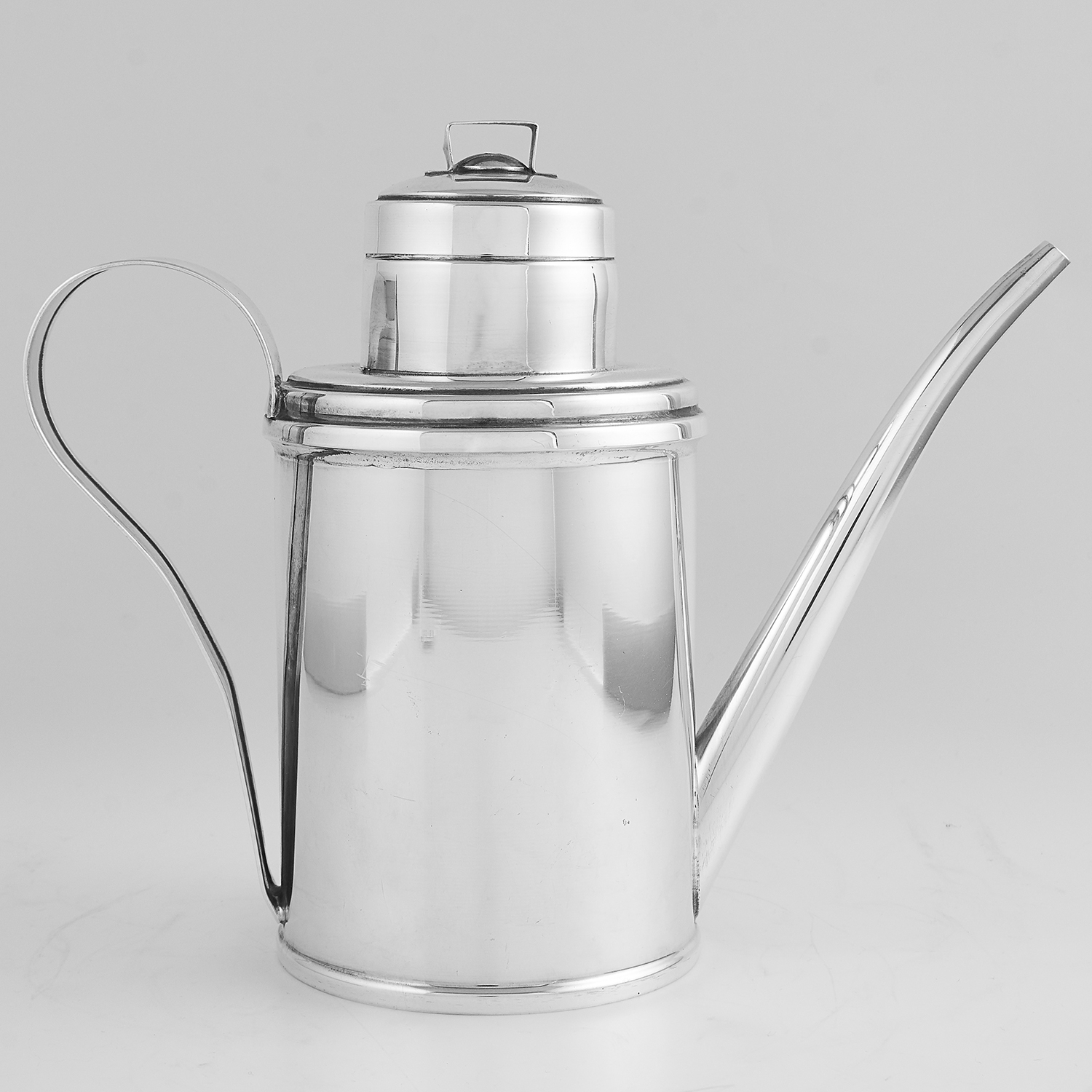 Los 42 - VINTAGE ITALIAN SILVER OLIVE OIL CAN designed as a watering can, with scrolling handle and
