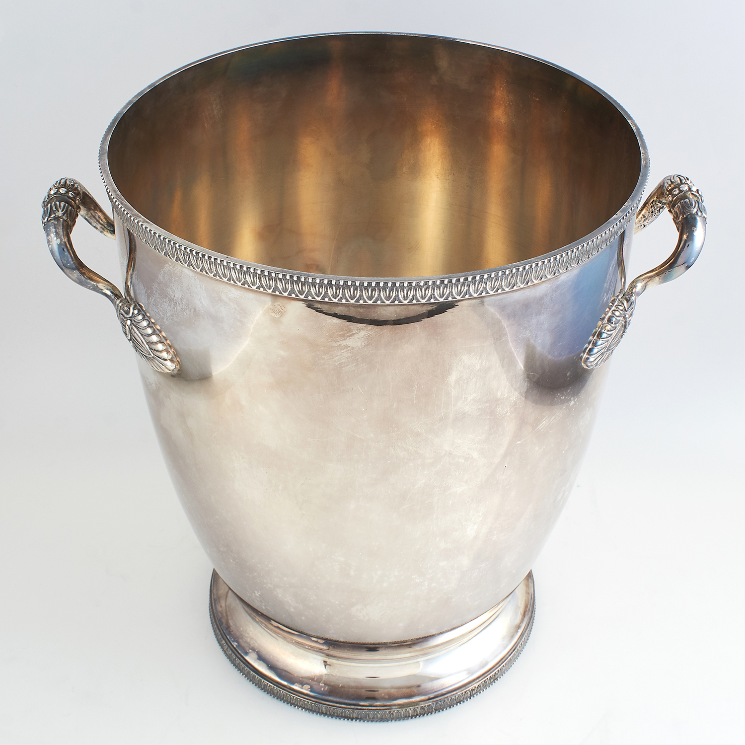 VINTAGE ITALIAN SILVER WINE COOLER BY CALDERONI, CIRCA 1960 the tapering body in plain design, - Image 2 of 4