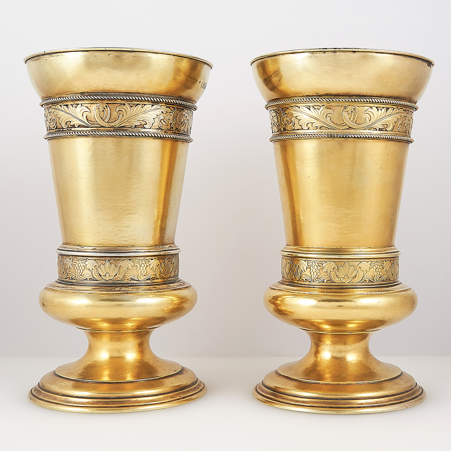 PAIR OF ANTIQUE STERLING SILVER GILT VASES, FREDERICK DENDY WRAY, LONDON 1914 the tapering bodies