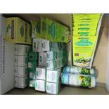 An assortment of medical/supplementary products including drops, capsules etc
