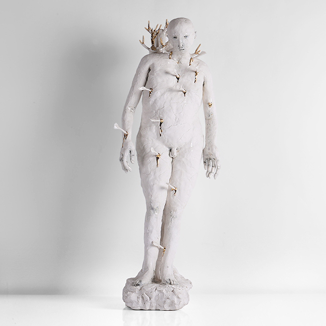 Lot 294 - Claire Curneen (Irish, b.1968) St Sebastian', circa 2006 Porcelain, gold lustre, blue pigment and