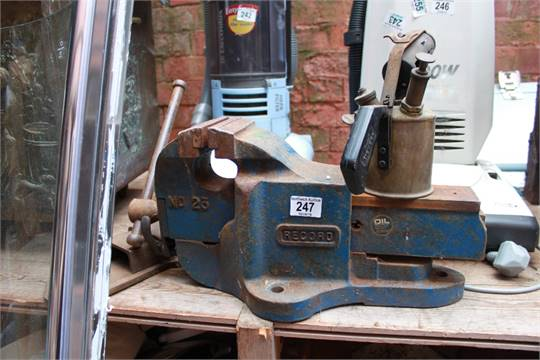Large Bench Vice Blowtorch And One Other Vice