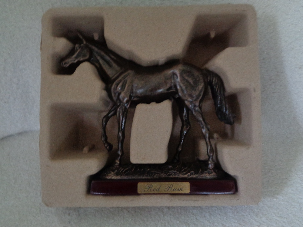 Lot 3 - KING OF SPORTS STATUES BRONZE RESIN MILL REEF, DESERT ORCHID, SHERGAR, RED RUM, KAUTO* ALL BOXED 7""