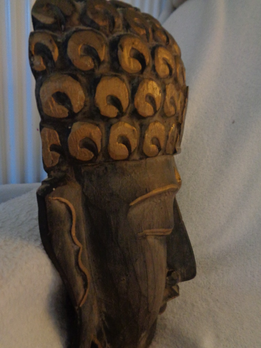"Lot 15 - INDIAN TRIBAL ART BUDDHA 12"""" X 9"""" HAND CARVED"