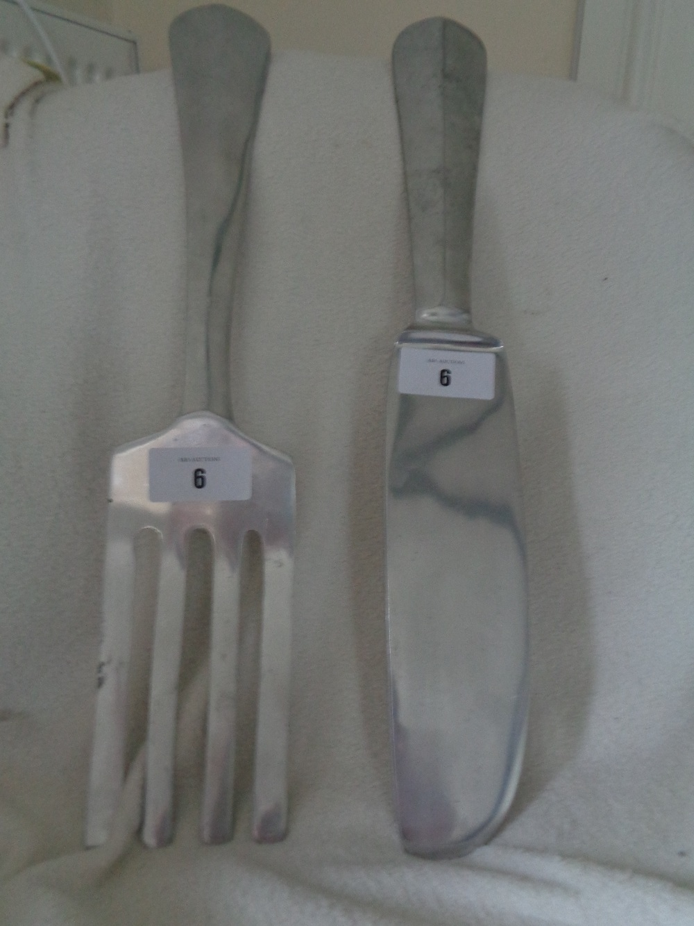 "Lot 6 - KNIFE AND FORK - STEEL - 24"""" 4"""""