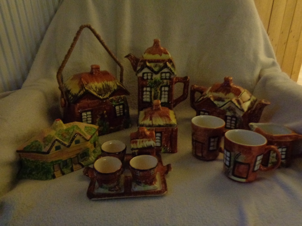 Lot 23 - COTTAGE WARE TEA POT, COFFEE POT, BISCUIT, BUTTER, EGG CUPS, TWO MUGS