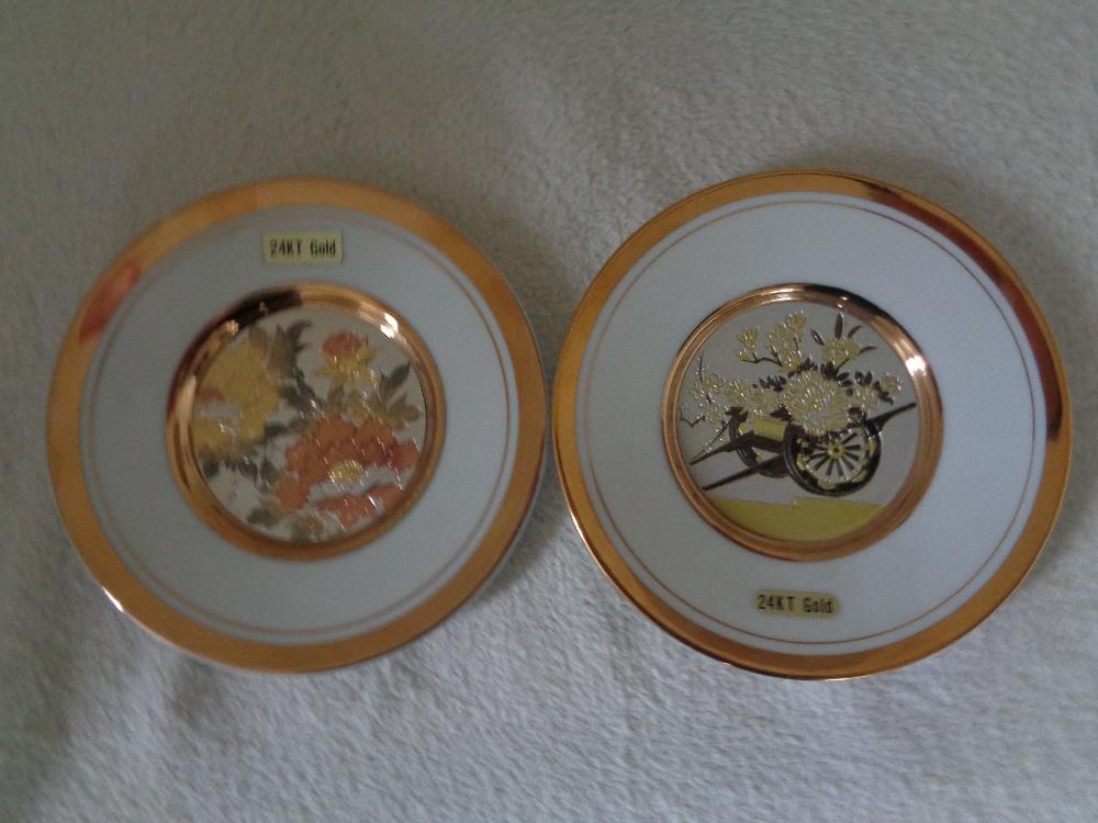 "Lot 2 - JAPANESE 24K GOLD EDGED PLATES 6"""" ANCIENT ART OF CHOKIN"
