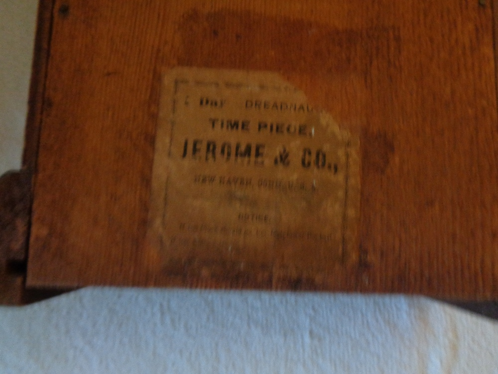 "Lot 14 - USA MAPLE MANTEL CLOCK JEROME & CO VINTAGE WITH KEY 14"""" X 10"""""